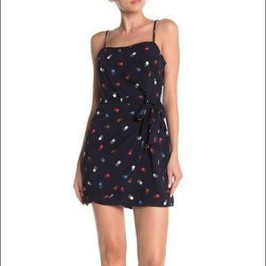 Lush Side Tie polka dot Wrap Mini Dress